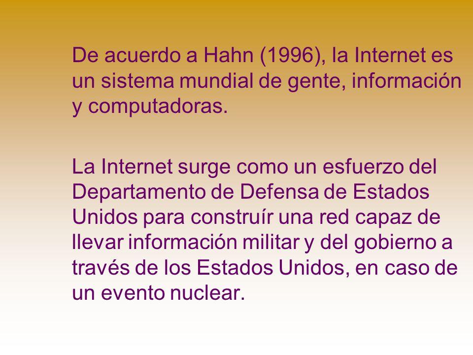 De acuerdo a Hahn (1996), la Internet es un sistema mundial de gente, información y computadoras.