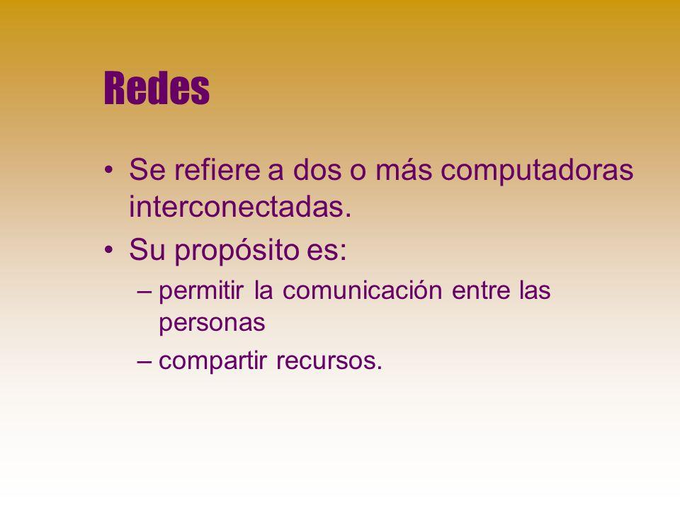 Redes Se refiere a dos o más computadoras interconectadas.