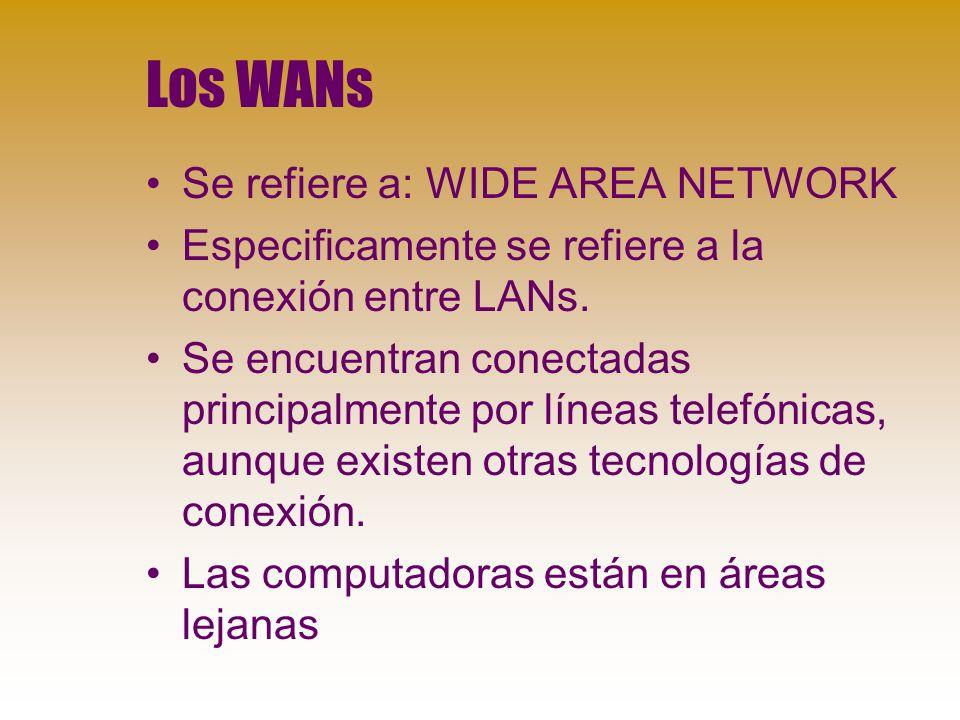 Los WANs Se refiere a: WIDE AREA NETWORK Especificamente se refiere a la conexión entre LANs.
