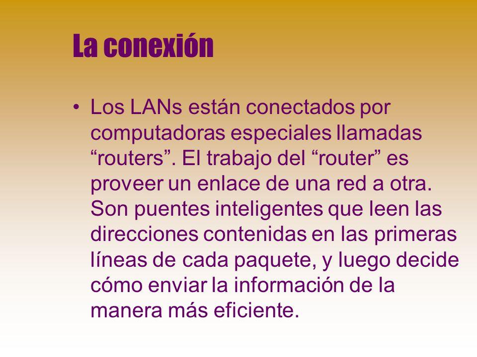 La conexión Los LANs están conectados por computadoras especiales llamadas routers.