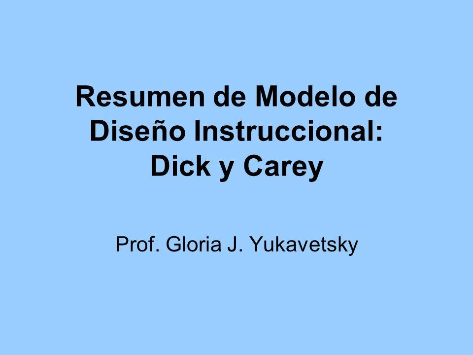 Resumen de Modelo de Diseño Instruccional: Dick y Carey Prof. Gloria J. Yukavetsky