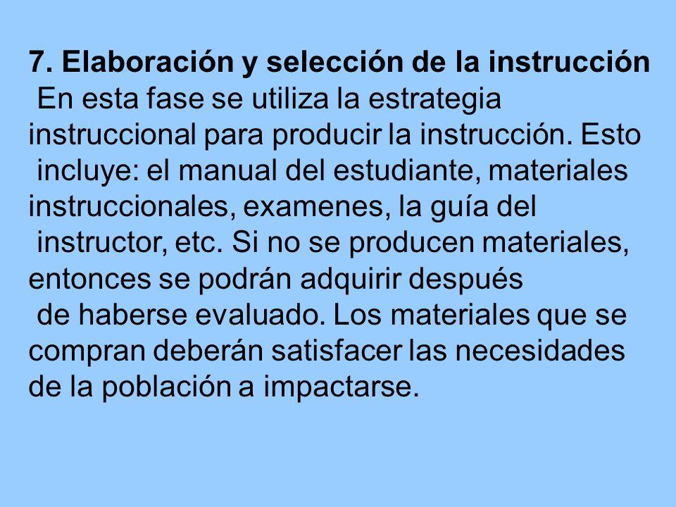 7. Elaboración y selección de la instrucción En esta fase se utiliza la estrategia instruccional para producir la instrucción. Esto incluye: el manual