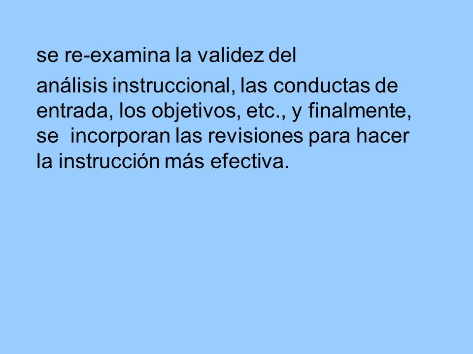 se re-examina la validez del análisis instruccional, las conductas de entrada, los objetivos, etc., y finalmente, se incorporan las revisiones para ha
