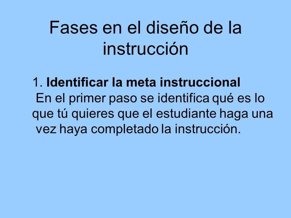 Fases en el diseño de la instrucción 1. Identificar la meta instruccional En el primer paso se identifica qué es lo que tú quieres que el estudiante h