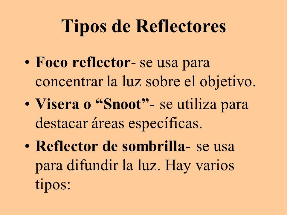 Tipos de Reflectores Foco reflector- se usa para concentrar la luz sobre el objetivo. Visera o Snoot- se utiliza para destacar áreas específicas. Refl
