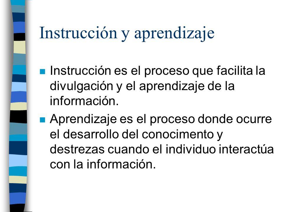 Instrucción y aprendizaje n Instrucción es el proceso que facilita la divulgación y el aprendizaje de la información.