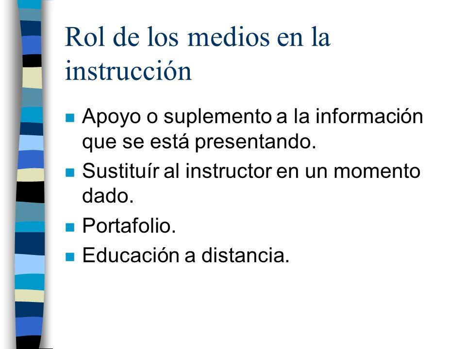 Rol de los medios en la instrucción n Apoyo o suplemento a la información que se está presentando.