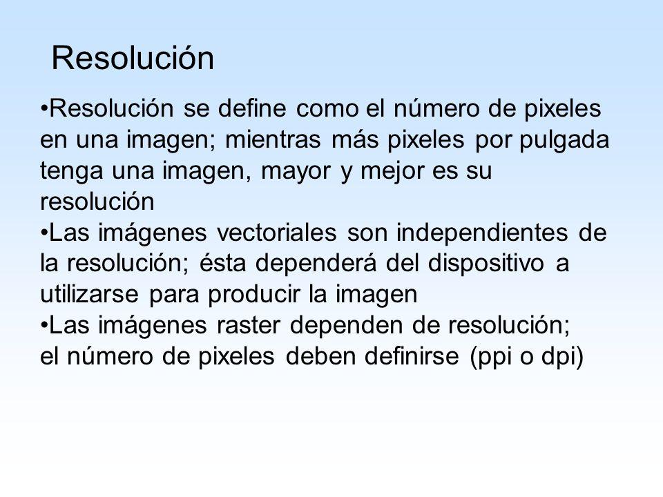 Resolución Resolución se define como el número de pixeles en una imagen; mientras más pixeles por pulgada tenga una imagen, mayor y mejor es su resolu