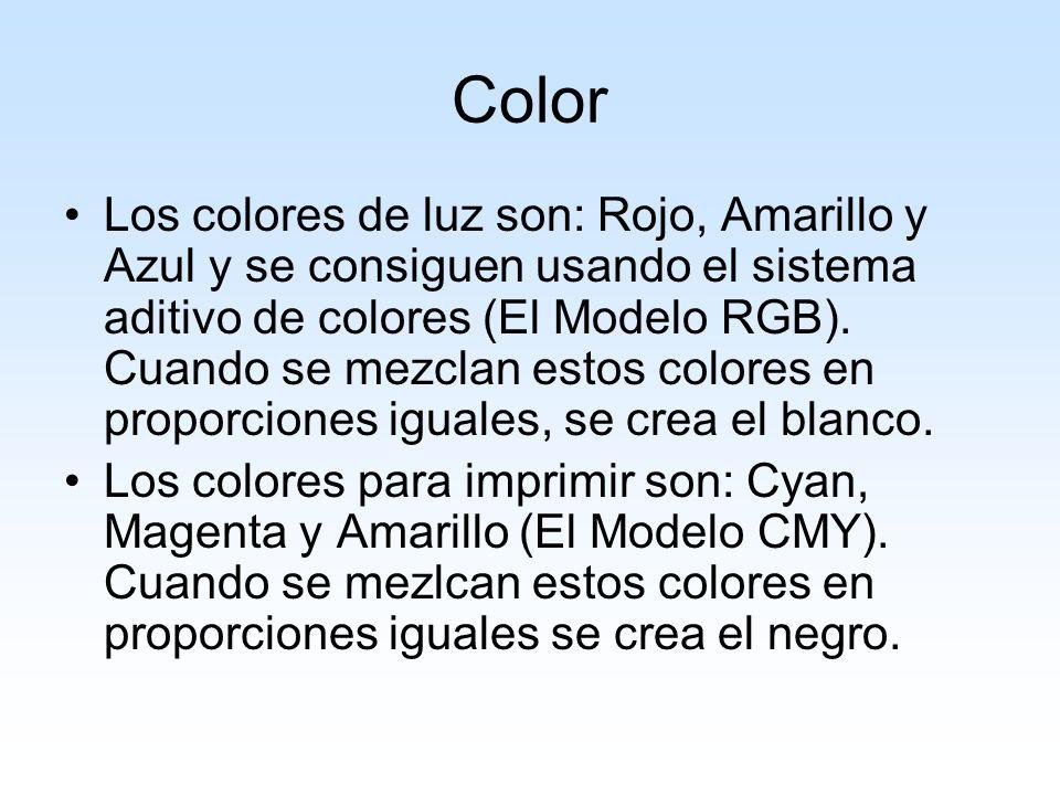 Color Los colores de luz son: Rojo, Amarillo y Azul y se consiguen usando el sistema aditivo de colores (El Modelo RGB). Cuando se mezclan estos color