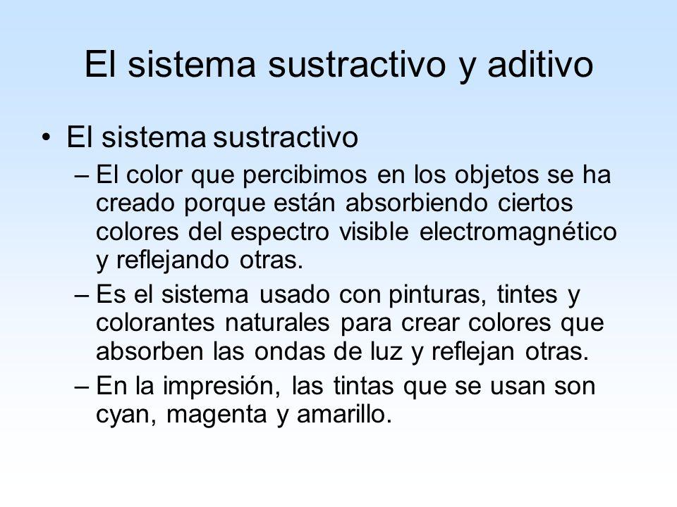 El sistema sustractivo y aditivo El sistema sustractivo –El color que percibimos en los objetos se ha creado porque están absorbiendo ciertos colores