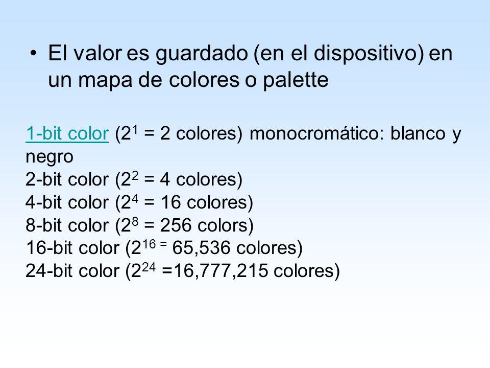 El valor es guardado (en el dispositivo) en un mapa de colores o palette 1-bit color1-bit color (2 1 = 2 colores) monocromático: blanco y negro 2-bit