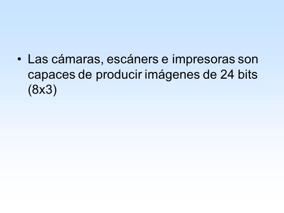 Las cámaras, escáners e impresoras son capaces de producir imágenes de 24 bits (8x3)