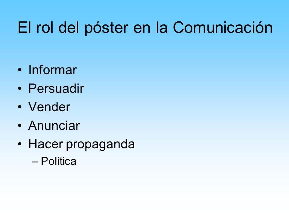 El rol del póster en la Comunicación Informar Persuadir Vender Anunciar Hacer propaganda –Política