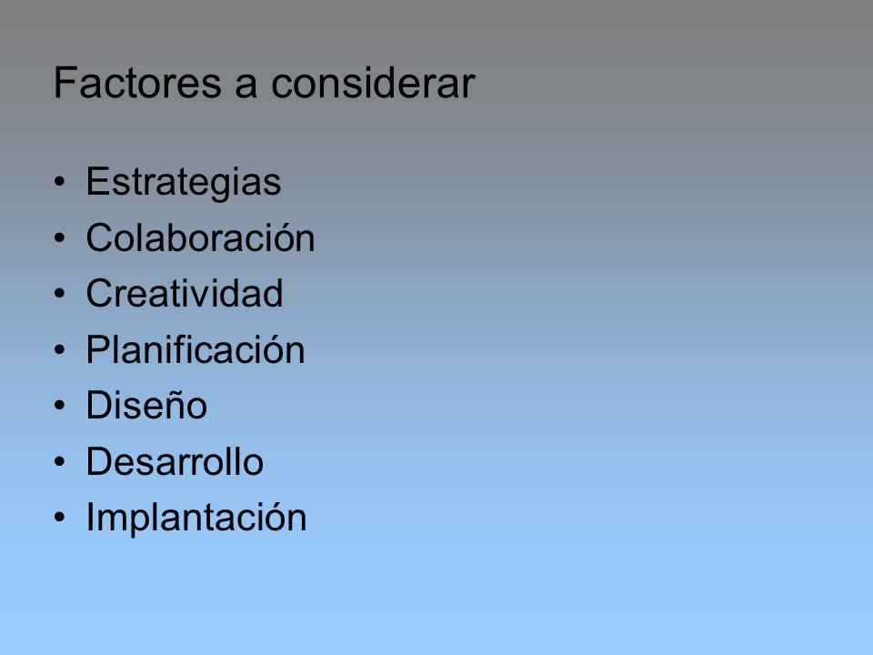 Factores a considerar Estrategias Colaboración Creatividad Planificación Diseño Desarrollo Implantación