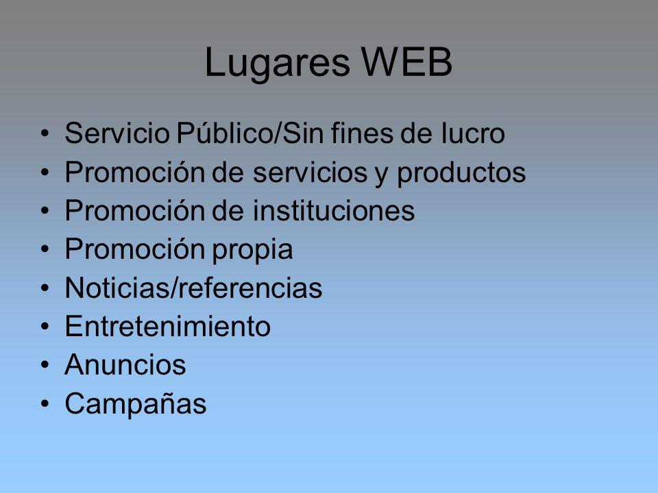 Lugares WEB Servicio Público/Sin fines de lucro Promoción de servicios y productos Promoción de instituciones Promoción propia Noticias/referencias En