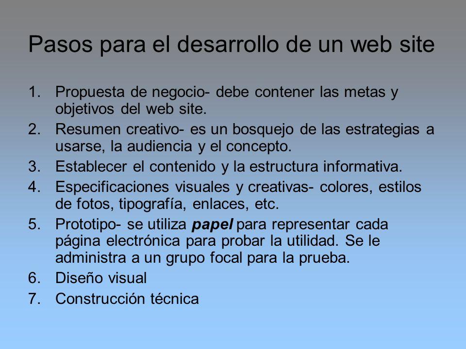 Pasos para el desarrollo de un web site 1.Propuesta de negocio- debe contener las metas y objetivos del web site. 2.Resumen creativo- es un bosquejo d