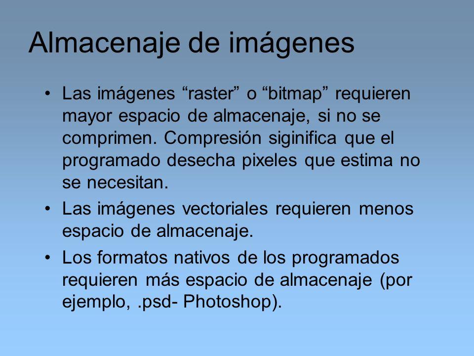 Las imágenes raster o bitmap requieren mayor espacio de almacenaje, si no se comprimen. Compresión siginifica que el programado desecha pixeles que es