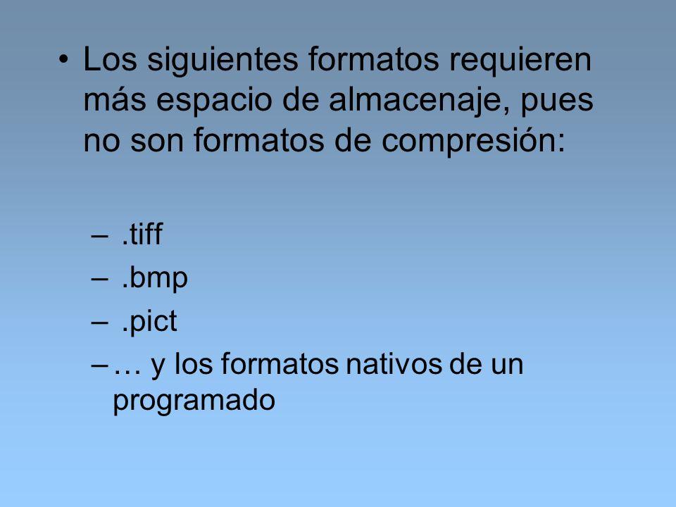 Los siguientes formatos requieren más espacio de almacenaje, pues no son formatos de compresión: –.tiff –.bmp –.pict –… y los formatos nativos de un p