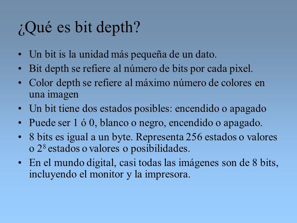 ¿Qué es bit depth? Un bit is la unidad más pequeña de un dato. Bit depth se refiere al número de bits por cada pixel. Color depth se refiere al máximo