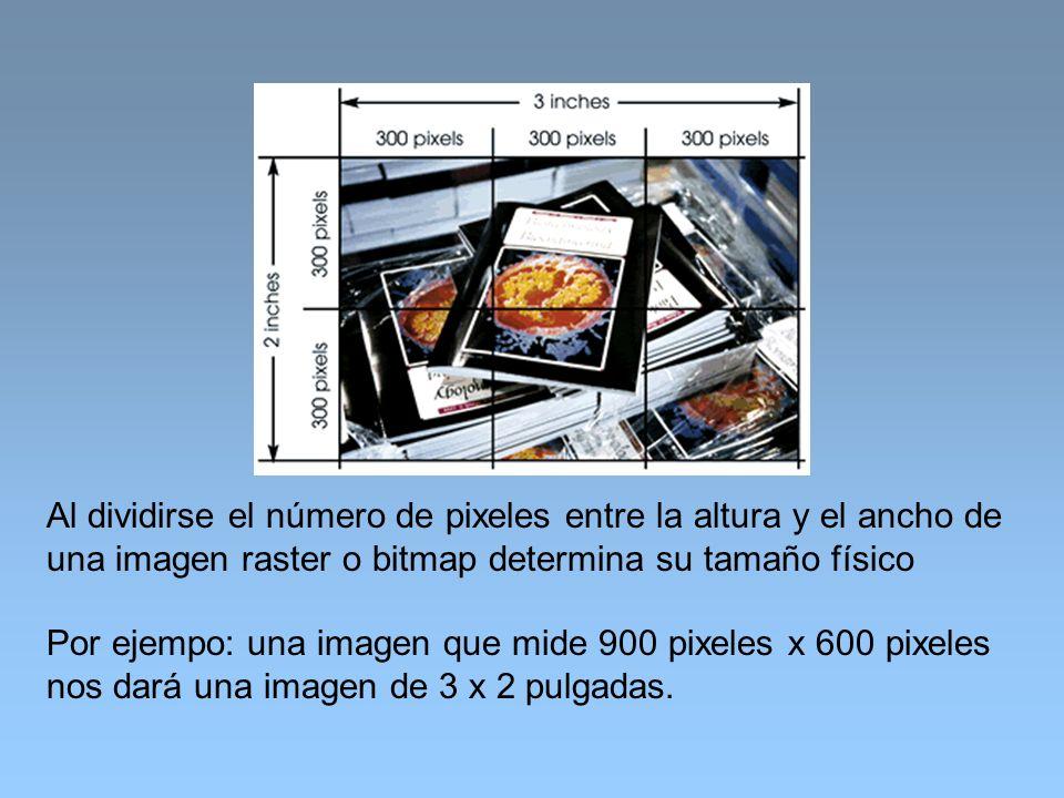 Al dividirse el número de pixeles entre la altura y el ancho de una imagen raster o bitmap determina su tamaño físico Por ejempo: una imagen que mide