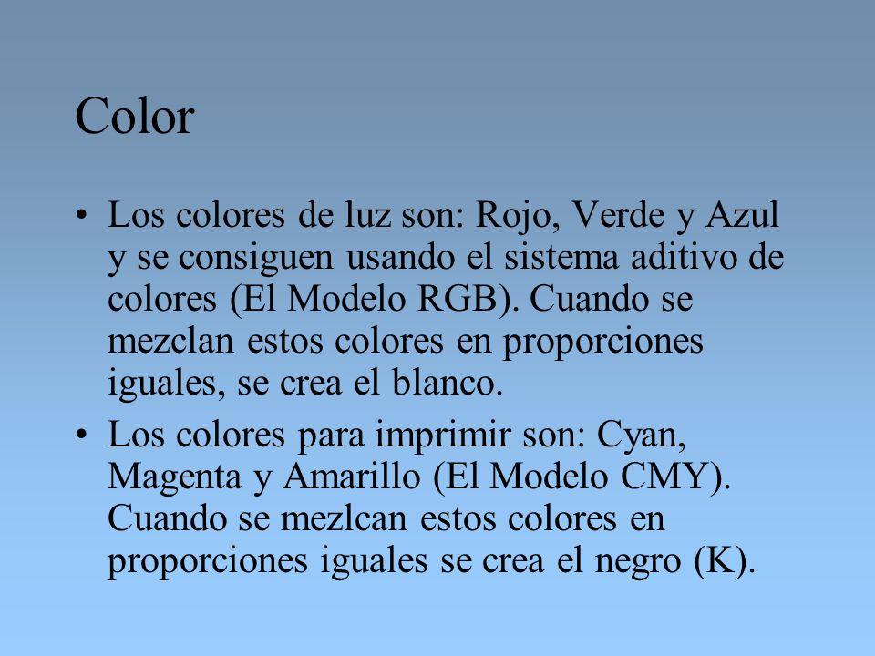 Color Los colores de luz son: Rojo, Verde y Azul y se consiguen usando el sistema aditivo de colores (El Modelo RGB). Cuando se mezclan estos colores