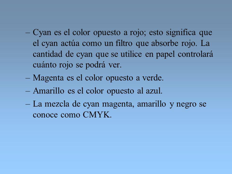 –Cyan es el color opuesto a rojo; esto significa que el cyan actúa como un filtro que absorbe rojo. La cantidad de cyan que se utilice en papel contro