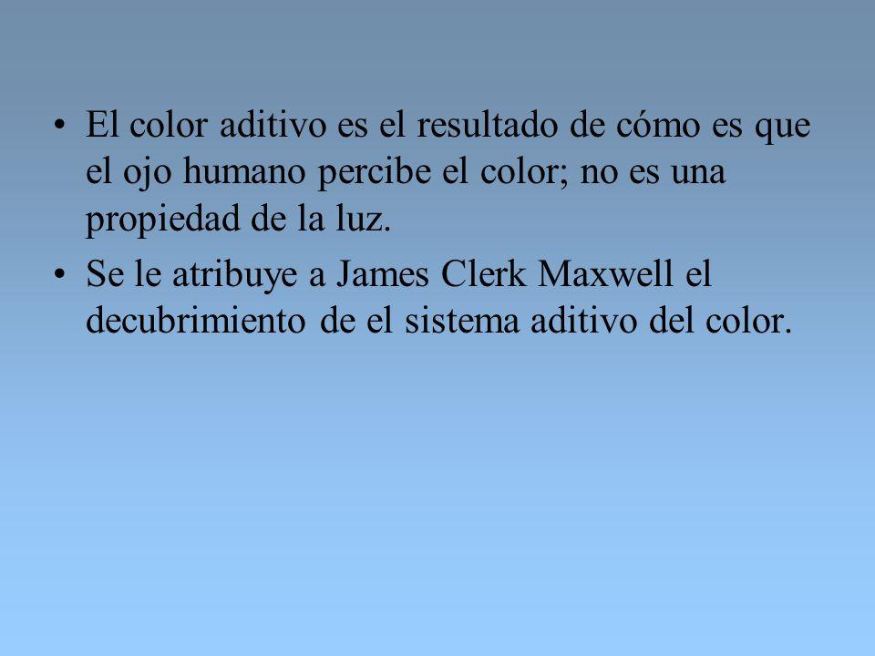El color aditivo es el resultado de cómo es que el ojo humano percibe el color; no es una propiedad de la luz. Se le atribuye a James Clerk Maxwell el