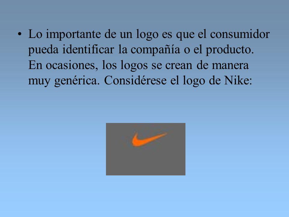Lo importante de un logo es que el consumidor pueda identificar la compañía o el producto. En ocasiones, los logos se crean de manera muy genérica. Co