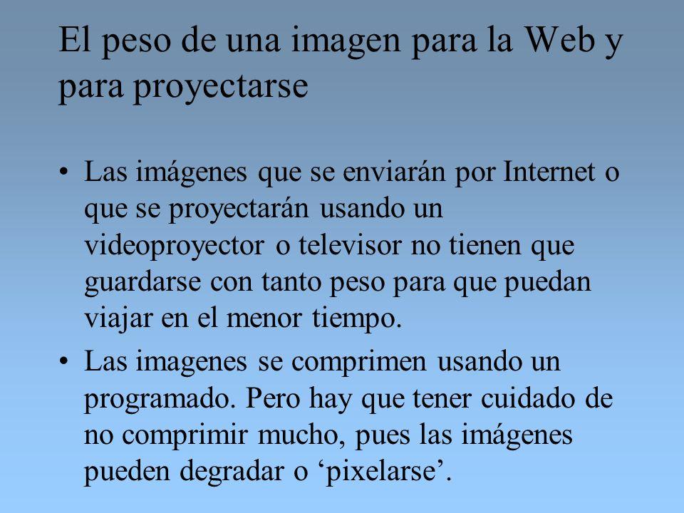 El peso de una imagen para la Web y para proyectarse Las imágenes que se enviarán por Internet o que se proyectarán usando un videoproyector o televis