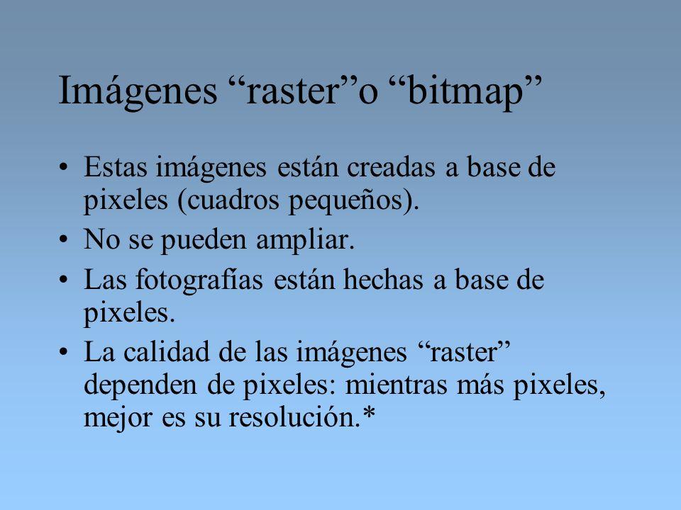 Imágenes rastero bitmap Estas imágenes están creadas a base de pixeles (cuadros pequeños). No se pueden ampliar. Las fotografías están hechas a base d