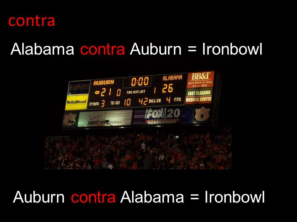 contra Auburn contra Alabama = Ironbowl Alabama contra Auburn = Ironbowl