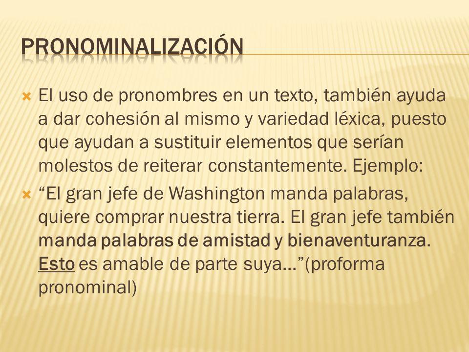 El uso de pronombres en un texto, también ayuda a dar cohesión al mismo y variedad léxica, puesto que ayudan a sustituir elementos que serían molestos