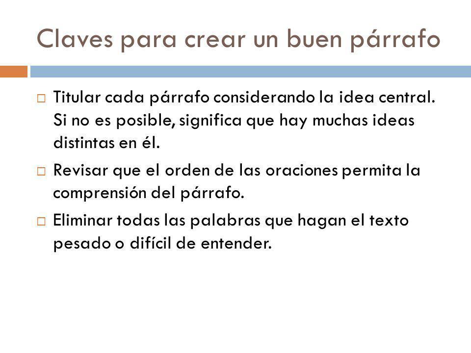 Claves para crear un buen párrafo Titular cada párrafo considerando la idea central. Si no es posible, significa que hay muchas ideas distintas en él.