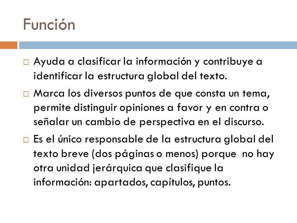 Función Ayuda a clasificar la información y contribuye a identificar la estructura global del texto. Marca los diversos puntos de que consta un tema,