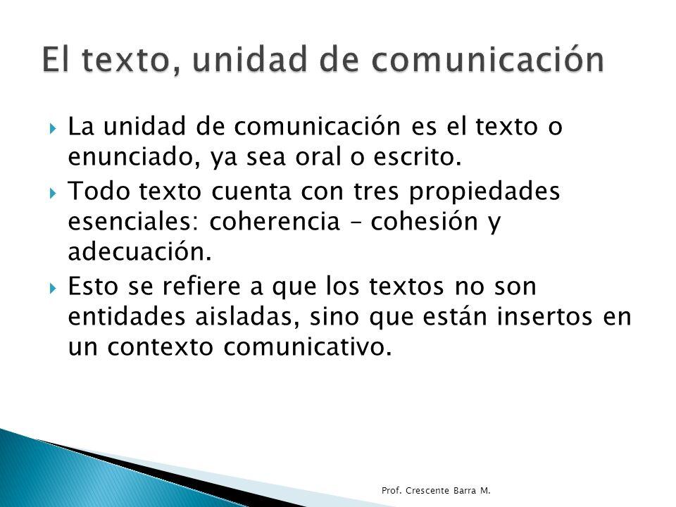 Todo texto, como comunicación está inserto en un contexto.