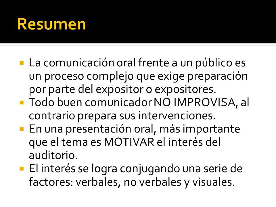 La comunicación oral frente a un público es un proceso complejo que exige preparación por parte del expositor o expositores. Todo buen comunicador NO