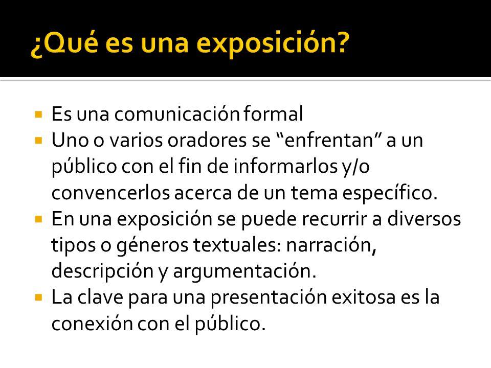 Es una comunicación formal Uno o varios oradores se enfrentan a un público con el fin de informarlos y/o convencerlos acerca de un tema específico. En