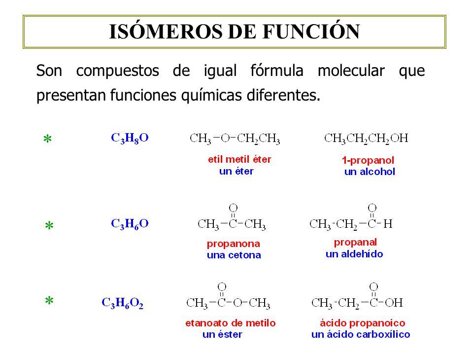 ISÓMEROS DE FUNCIÓN Son compuestos de igual fórmula molecular que presentan funciones químicas diferentes. * * *