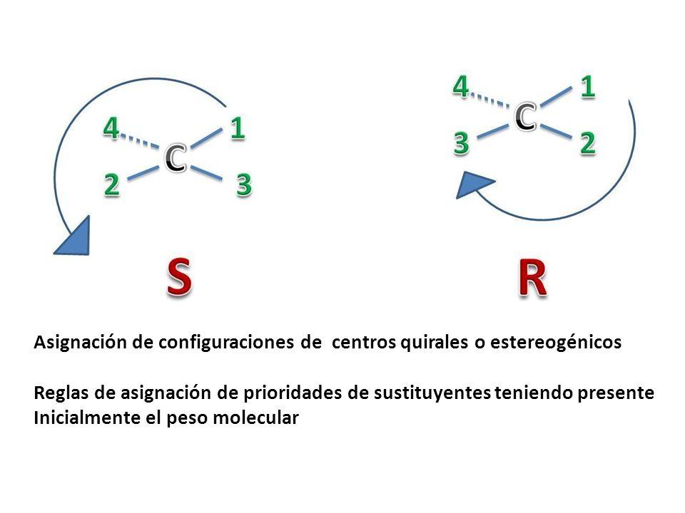 Asignación de configuraciones de centros quirales o estereogénicos Reglas de asignación de prioridades de sustituyentes teniendo presente Inicialmente