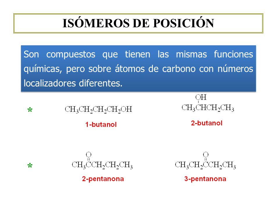 ISÓMEROS DE POSICIÓN Son compuestos que tienen las mismas funciones químicas, pero sobre átomos de carbono con números localizadores diferentes. * *