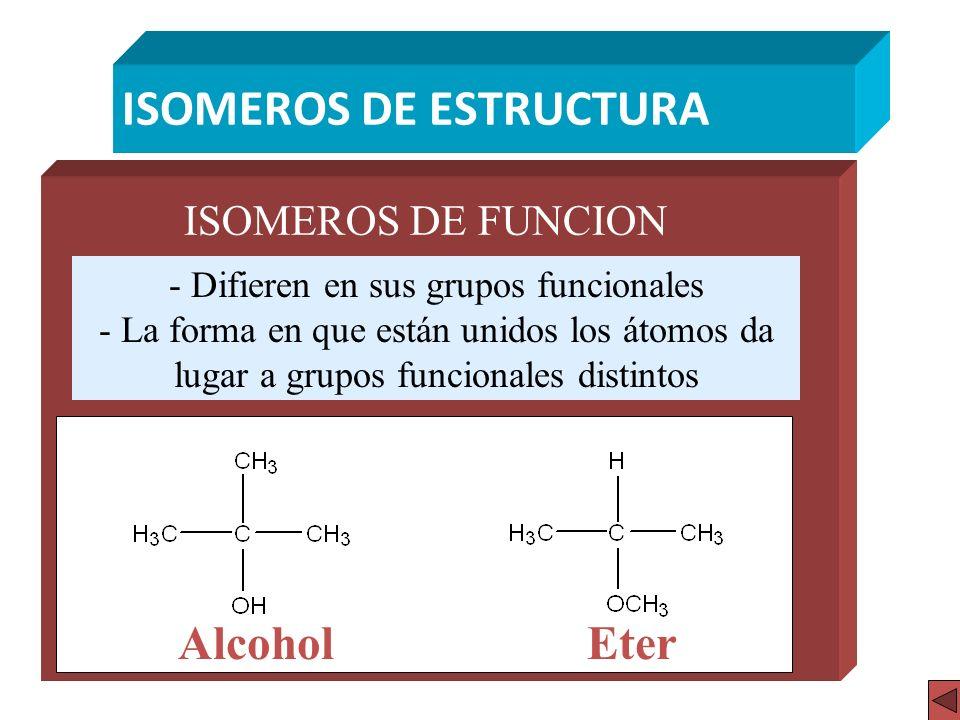 ISOMEROS DE ESTRUCTURA ISOMEROS DE FUNCION - Difieren en sus grupos funcionales - La forma en que están unidos los átomos da lugar a grupos funcionale