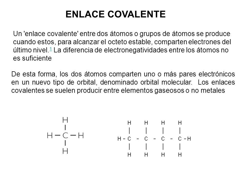 ENLACE COVALENTE Un 'enlace covalente' entre dos átomos o grupos de átomos se produce cuando estos, para alcanzar el octeto estable, comparten electro