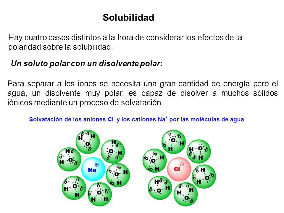 Solubilidad Hay cuatro casos distintos a la hora de considerar los efectos de la polaridad sobre la solubilidad. Un soluto polar con un disolvente pol