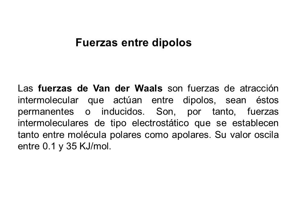 Las fuerzas de Van der Waals son fuerzas de atracción intermolecular que actúan entre dipolos, sean éstos permanentes o inducidos. Son, por tanto, fue