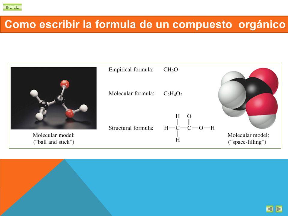 ÍNDICE FORMULAS DE LOS COMPUESTOS DE CARBONO Como todos los compuestos químicos, las sustancias orgánicas se representan mediante fórmulas. Pero, debi