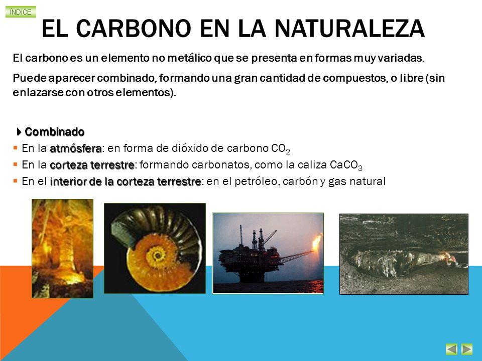 ÍNDICE EL CARBONO EN LA NATURALEZA El carbono es un elemento no metálico que se presenta en formas muy variadas.