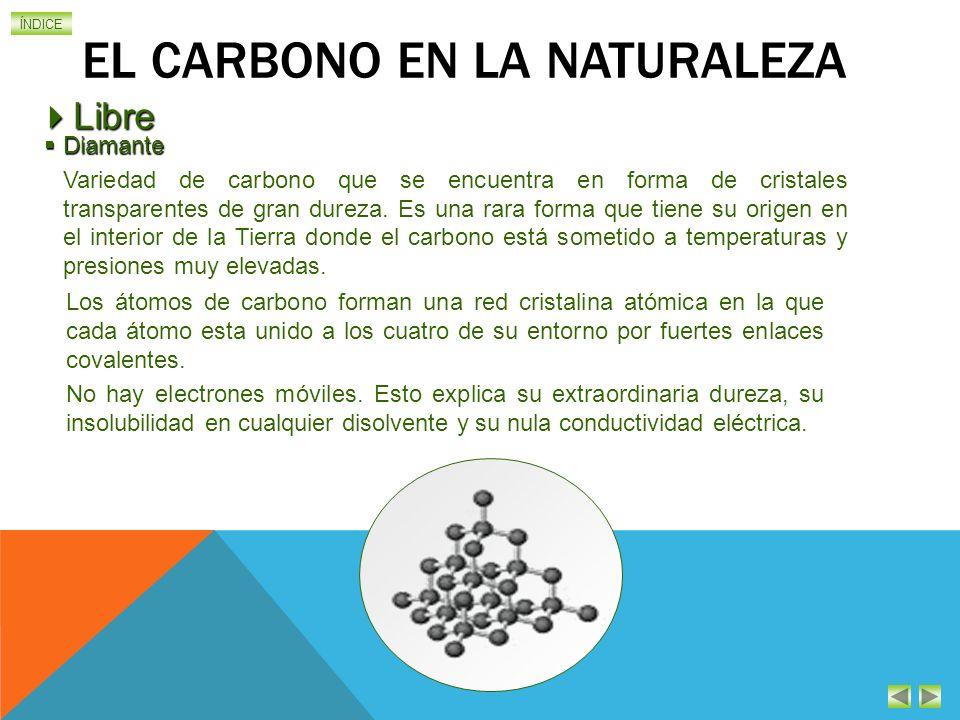 ÍNDICE EL CARBONO EN LA NATURALEZA Diamante Diamante Variedad de carbono que se encuentra en forma de cristales transparentes de gran dureza.