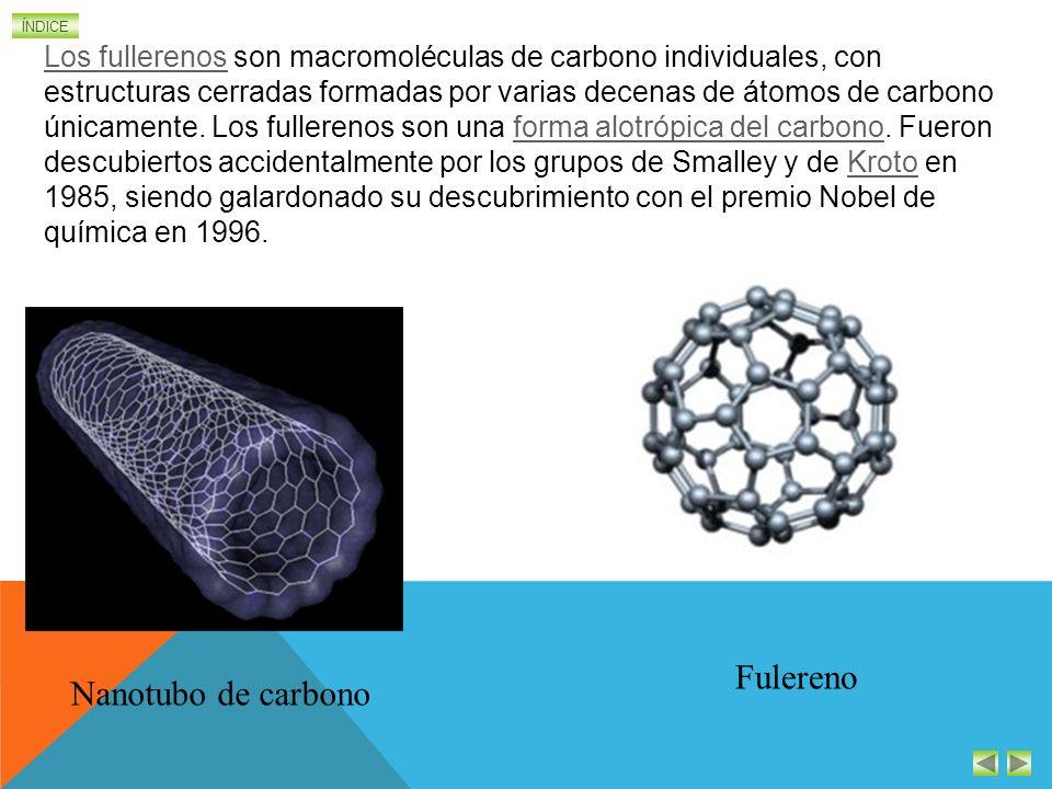 ÍNDICE Nanotubo de carbono Fulereno Los fullerenosLos fullerenos son macromoléculas de carbono individuales, con estructuras cerradas formadas por varias decenas de átomos de carbono únicamente.