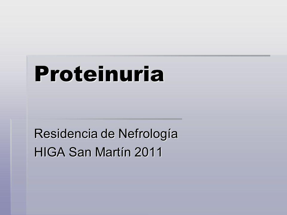 Proteinuria Introducción El plasma contiene 6-7 g/l de proteínas aprox El plasma contiene 6-7 g/l de proteínas aprox La orina esta virtualmente libre de proteínas debido a la selectividad de la filtración glomerular.