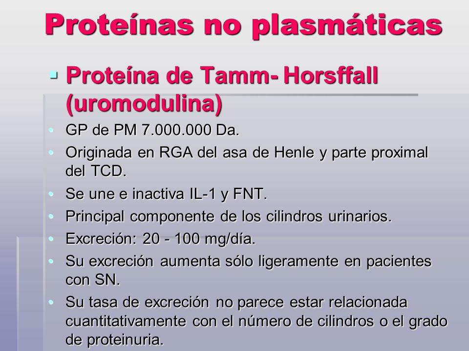 Proteínas no plasmáticas Proteína de Tamm- Horsffall (uromodulina) Proteína de Tamm- Horsffall (uromodulina) GP de PM 7.000.000 Da.GP de PM 7.000.000